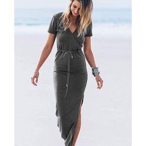- Women's Short Sleeve  v neck  Maxi Dress